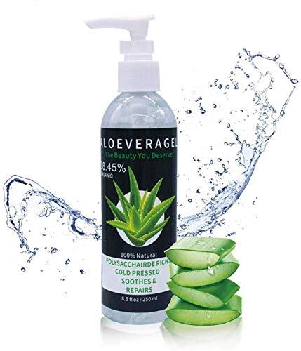 Aloe Vera Gel 98.45% Pur - für Gesicht, Haare und Körper - Natürliche, beruhigende und pflegende Feuchtigkeitscreme - Ideal für trockene, strapazierte Haut & Sonnenbrand
