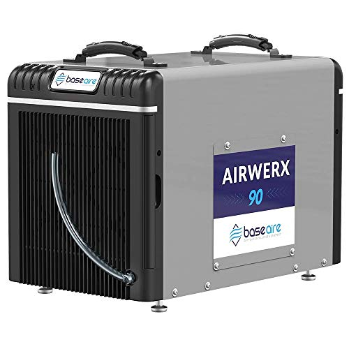 BaseAire Crawl Spaces Dehumidifier AirWerx90, Basement Dehumidifier 90pints/Day at AHAM, Cover 2,600 Sq. Ft, Portable, HGV Defrosting, Optional Remote Control, 5 Years Warranty