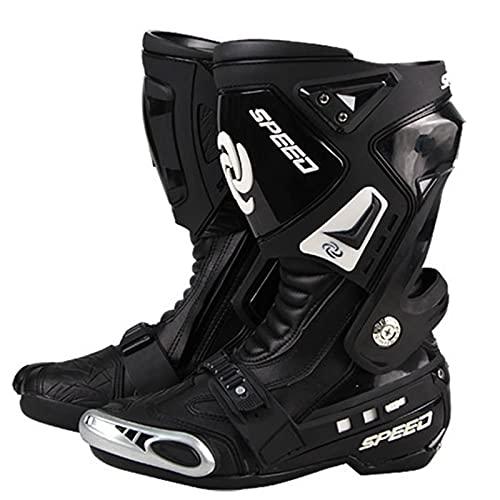 Botas de moto todoterreno negras para hombre,zapatos motocross carreras PRO, protección tobillo para deportes al aire libre,bota antideslizante para bici tierra, botas cuero para moto Urban Ci