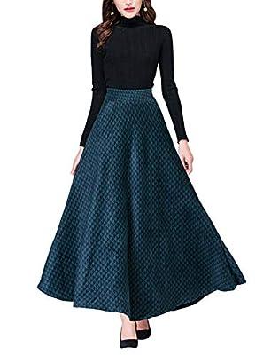 Women's High Waist A-line Flared Wool Maxi Skirt Winter Fall Plaid Long Skirt