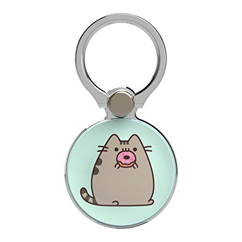 iFace Pusheen Adorable Cat Stylish [360-Degree Rotation] Finger Grip Ring Holder, Pusheen Holding a Donut