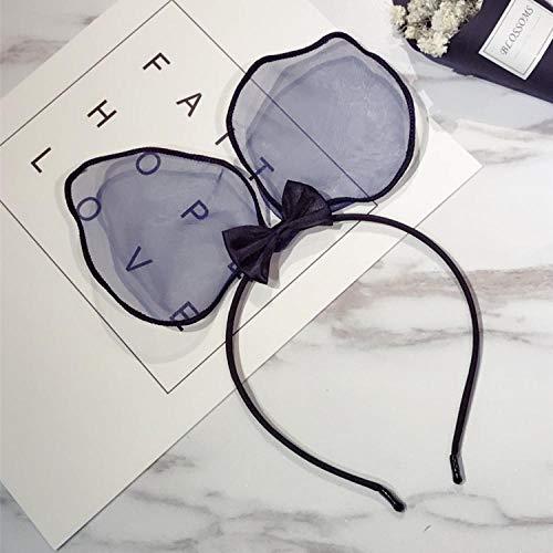 Accessoires pour cheveux Bandeau de gaze simple en maille de dentelle douce femelle grandes oreilles de lapin noeud papillon en épingle à cheveux-bleu
