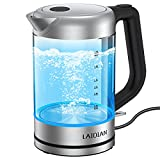 LAIDIAN Electric Kettle, 1.8L Glass Tea Kettle Portable Cordless Teapot with LED Indicator, BPA Free 304 Stainless Steel Lid & Bottom, Boil-Dry Protection & Auto Shut-Off