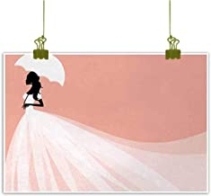 Mannwarehouse Bridal Shower Simulation Oil Painting Bride in Abstract Romantic Wedding Dress with Umbrella Artwork Print Decorative Painted Sofa Background Wall 20