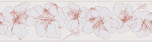 Livingwalls Bordüre Jette Joop Borte mit Blumen floral 5,00 m x 0,17 m rosa weiß Made in Germany 959911 95991-1