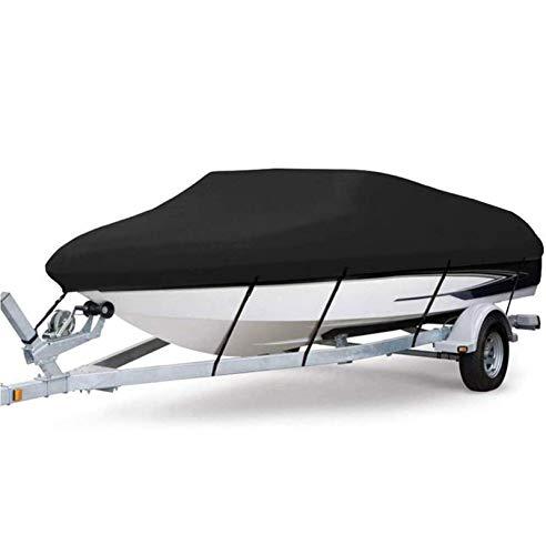 Gycdwjh 300D Fundas para Barco, Impermeable Duradero Tela Oxford Funda de Lancha Cubierta de Barco para Remolque Resistente para V-Hull Runabout Boat Cover,Negro,21to24FT