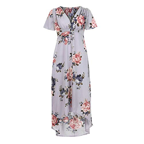 Best Prices! Womens Maxi Skirts Casual Short Sleeve V-Neck Boho Flower Elastic Waist Party Irregular...