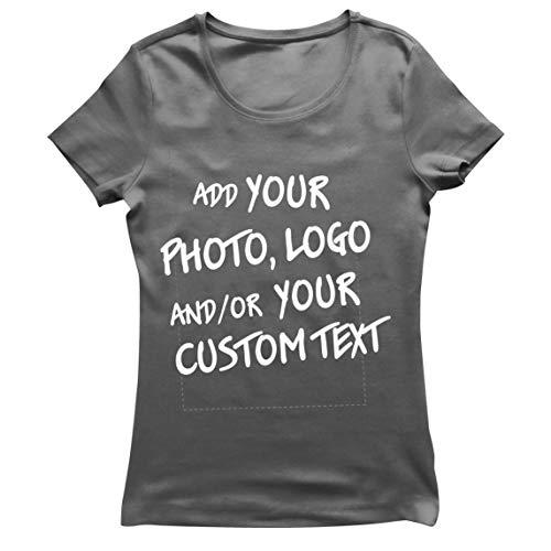lepni.me Camiseta Mujer Regalo Personalizado, Agregar Logotipo de la Compañía, Diseño Propio o Foto (Medium Grafito Multicolor)