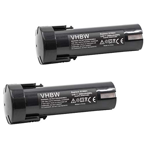 vhbw 2x Akku kompatibel mit ABB Stotz Minifix 210 Schraubendreher Elektrowerkzeug (3300mAh NiMH 2,4V)