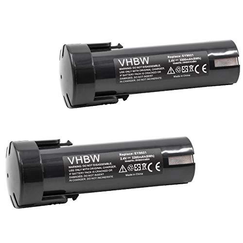 vhbw 2x Akku kompatibel mit ABB SDF-AK210 Elektrowerkzeug (3300mAh NiMH 2,4V)