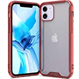 CoverON Slim Cover for Apple iPhone 12 / iPhone 12 Pro Phone Case, Crystal Clear Lightweight Hard Back - TPU Red Bumper