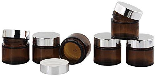 Braunglastiegel m. Kunststoff-Deckel, 30 ml Leerer Tiegel, Kosmetex Glasdose, 6× silber