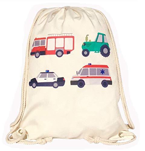 HECKBO® gymtas voor kinderen, jongens, aan beide zijden bedrukt met brandweer, tractor, ziekenwagen, politie - wasmachinebestendig - 40 x 32 cm - kleuterschool, kribbe, reis, sport - rugzak, tas