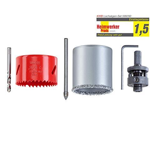 kwb 599290 Lochsägen 68-mm, 6-teiliges Set, Grundaustattung f. Elektriker inkl. Fliesenbohrer + Universal-Bohrer/Metallbohrer
