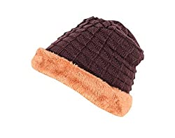 Krystle Mens Woollen Cotton Warm Winter Hat (Dark Brown)