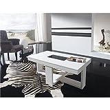 Kasalinea Table Basse relevable Blanc laqué Design COSI-L 110 x P 60 x H 59 cm- Blanc