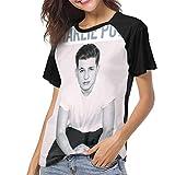 StephaDHampton Charlie Puth Womens Casual Baseball Short Sleeves T Shirts Raglan Sleeve Pattern T Shirts XXL Black