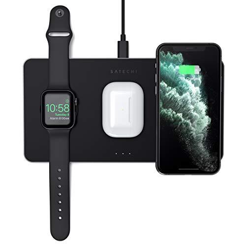SATECHI Cargador Inalámbrico 3 en 1– Carga Rápida Qi - Compatible coniPhone iPhone 11 Pro Max/11 Pro/11, AirPods Pro/2, Apple Watch Series 6/5/4/3/2/1