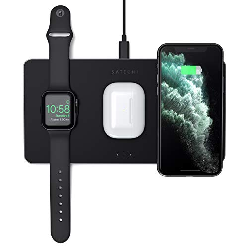 Satechi Cargador Inalámbrico 3 en 1– Carga Rápida Qi - Compatible coniPhone 12 Pro Max/12 Mini/12, AirPods Pro/2, Apple Watch Series 6/5/4/3/2/1