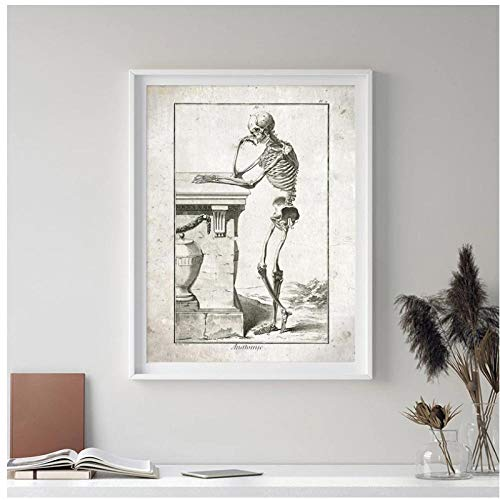 DLFALG Vintage Medical Anatomy Poster Thinking Skeleton Abstract Canvas Painting Print Doctor Office Wall Art Decor Medical School Gift-40x50cm Sin marco