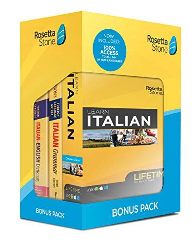 Rosetta Stone Learn Italian Bonus Pack Bundle| Lifetime Online Access + Grammar Guide + Dictionary Book Set| PC Mac Keycard