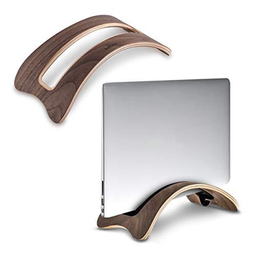 kalibri Stand in Legno Naturale per Portatile - Sostegno Appoggio Verticale per Tablet Pc - per Modelli Vecchi di MacBook 2010-2017 - Noce Marrone