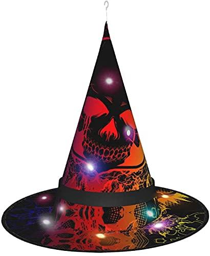 KINGAM Halloween Halloween Halloween Halloween Halloween Batt Bruja Luces Sombrero, Halloween Decoraciones Sombrero-Halloween Diablo Skull
