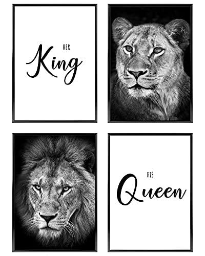 C+C Wandbilder für Paare | Unterschiedliche Sets Verfügbar | Bilder mit Sprüchen für Schlafzimmer ohne Bilderrahmen | Schwarz Weiß Poster Set 4x DIN A4 ca. 21x30 | » King Queen Löwen «