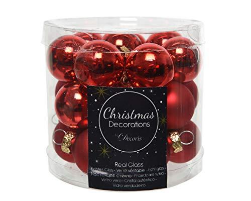 Kaemingk Mini-Weihnachtskugeln aus Glas 24er-Set (Durchmesser 2,5 cm) weihnachtsrot