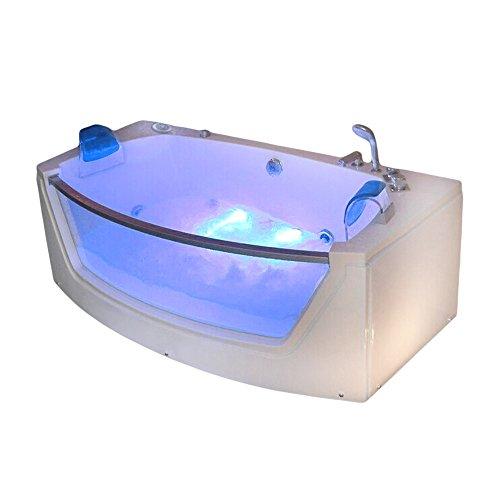 supply24 Luxus Whirlpool Badewanne Alicante mit 15 Massage Düsen + 2X LED Beleuchtung + Heizung + Ozon freistehend an nur 1 Wand oder Eckmontage rechts + Links mit Glas Hot Tub Spa für 2 Personen