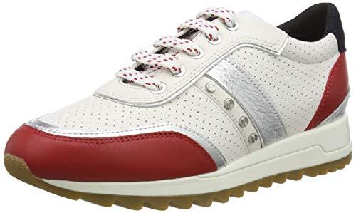 Geox D TABELYA A, Zapatillas Mujer, Color Blanco y Rojo, 40 EU