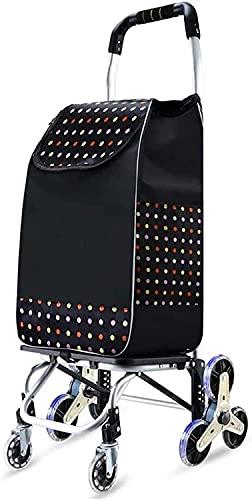 Eortzpc Carretilla de mano Carrito de la compra de mano del remolque el carro del equipaje del hogar Pequeño Carrito de arrastre de cristal de ruedas de aleación de aluminio plegable de cojinete (Colo