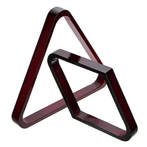 Sumnacon 2 Stück Dreieck Billardkugel aus Holz, Billard-Zubehör für 8/9 Kugeln, Dreieck + Raute (rot)