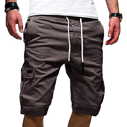 riou Pantalones Cortos Deportivos para Hombre,Hombres Verano Ocio Deportes Fitness Multi-bolsillo Herramientas Color Sólido Pantalones con Cordones Elásticas Ajustable Cintura Bolsillos