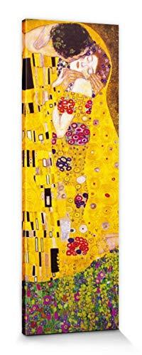 1art1 Gustav Klimt - El Beso, 1908 Cuadro, Lienzo Montado sobre Bastidor (150 x 50cm)