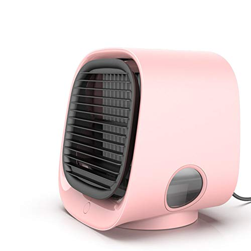 SETSCZY Air Cooler Fan USB Mini Portable Air Conditioner Easy Air Cooler Fan Desktop Personal Space Air Cooling Fan for Room Office,Pink