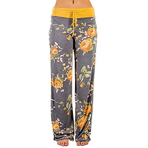 Yogahose Lang Damen Sommerhose mit Gummizug Leicht Weites Bein Hose Stretch Blumen Pilates Hosen Frauen