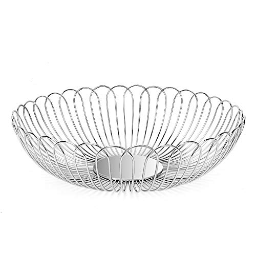Fruit Bowl LANEJOY Harmlessness Stainless Steel Fruit Basket Storage Baskets Wire Bowl for Household with Bread Vegetables Middle Size 11.63.5in