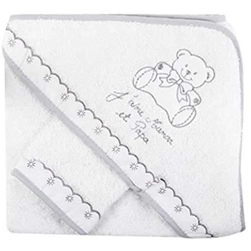 """Sortie de bain""""j'aime maman et papa"""" avec gant, idée cadeau naissance (blanc/gris)"""