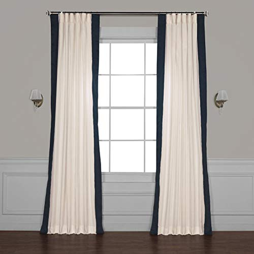 HPD Half Price Drapes PRCT-VC1713-96 Vertical Colorblock Panama Curtain (1 Panel), 50 X 96, Fresh Popcorn and Polo Navy