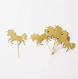 Astra Gourmet 25 Pack Gold Glitter Unicorn Cupcake Toppers Food Picks - Baby Shower Kids' Birthday Party Decors