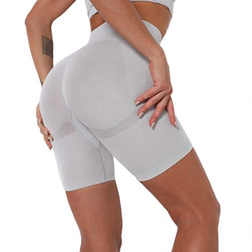 N\C Pantalones Cortos Deportivos Leggings Mujer, Shorts de Yoga Fitness, Mallas Yoga Cintura Alta Shorts Leggins Elásticos Push Up Suave para Correr Gym Mallas Deportivos, Gris Claro/M