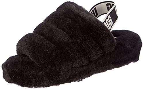 UGG Women's Fluff Yeah Slide Slipper, Black, 8