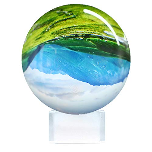 Kristallkugel für Fotografie, Lyeiaa 80mm K9 Klare Fotokugel mit Ständer & Reinigungstuch, Glaskugel für Meditation und Heilung, Kristall Hochzeit/Home/Büro Dekoration