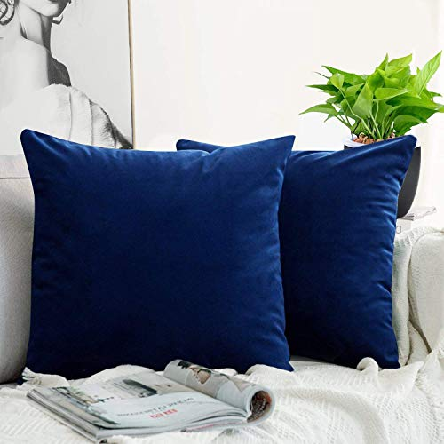 JUEYINGBAILI Throw Pillow Covers Velvet Decorative 2 Packs Ultra-Soft Navy Blue Pillowcase 18 x 18 Inch for Couch,Chair,Sofa,Bedroom,Car,Square Solid Color