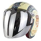 TR-yisheng Unisex Retro Motocicleta Bicicleta eléctrica 3/4 Casco Media Cara Espejo de Burbuja (Plata) Protector Solar UV BLU-Ray S-XXL