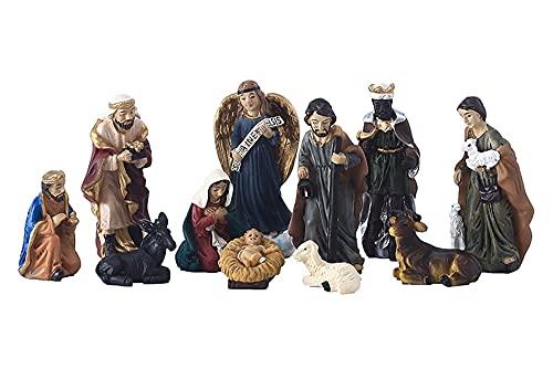 Nacimientos de Navidad Juego de 11 Artículos Religiosos Natividad Adornos Figuritas del Belén Niño Jesús Navidad Decorativa Resina Figura Casa Decorativo Accesorios Regalo Festival