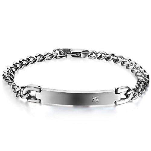 JewelryWe Schmuck Edelstahl Partnerarmband Poliert Panzerkette Armband Panzerarmband Pärchen Armreifen für Damen Silber
