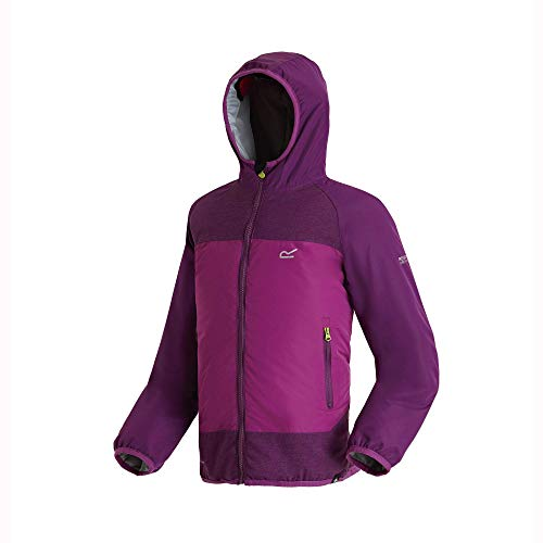 Regatta Kinder Volcanics II Waterproof and Breathable Lightweight Insulated Reflective Hooded Jacke, Wine Berry, Size 9-10