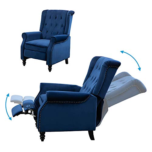 HomeSailing EU Velvet Recliner Armchair Wingback Adjustable Fireside Chair with Button Rivet Soft Padded Seat Push Back Relax Sofa For Cinema Gaming Home Lounge Living Room Blue
